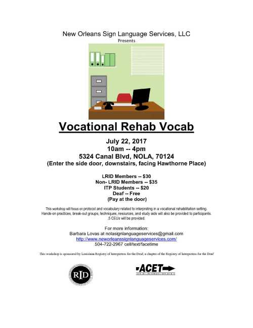 VOCATIONAL REHAB VOCAB flyer 7 22 17 - New Orleans Sign Language Services