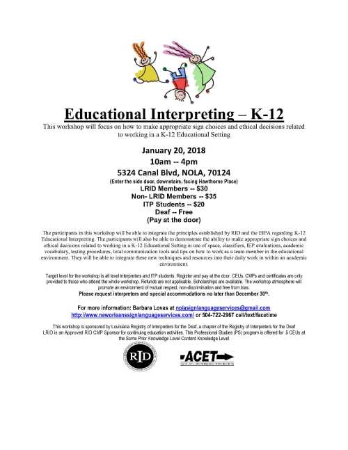 Educational Interpreting Workshop Flyer